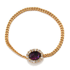 J Francis Amethyst Colour Crystal and White Crystal from Swarovski Brooch in Gold Plated 7.5 Inch