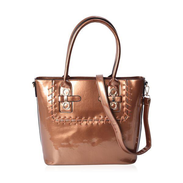 Brown Colour Tote Bag with Detachable Shoulder Strap and External Zipper Pocket (Size 39x29.5x13 Cm)