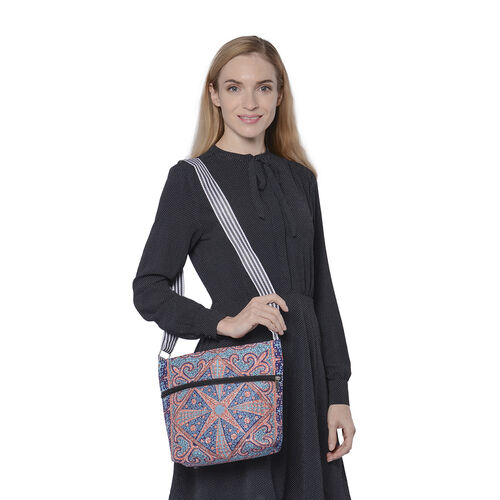 Canvas Crossbody Bag in Navy and Orange Pattern with Adjustable Shoulder Strap