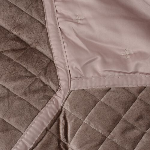 Premium Collection-Patchwork Matt Satin Winter Quilt with Embroidery Micro Mink Border in Taupe Colour (King Size 240x260 cm)