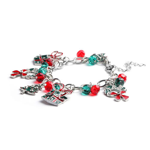 Simulated Emerald, Simulated Ruby and White Austrian Crystal Multi-Charm Christmas Theme Enamelled Bracelet (Size 7.5 with 1.5 inch Extender) in Silver Tone