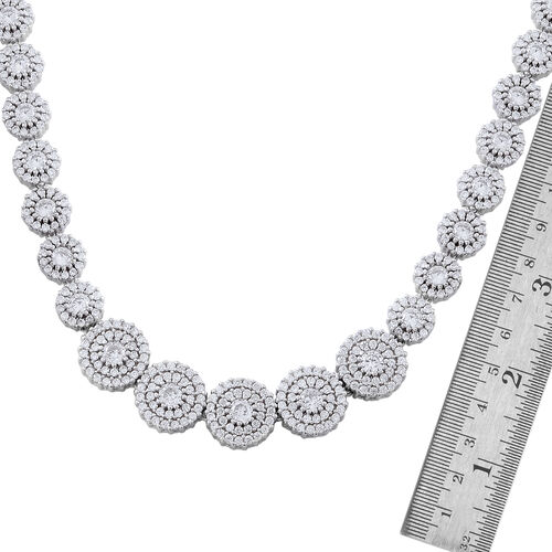 Designer Inspired ELANZA Simulated White Diamond (Rnd) Necklace (Size 16.50 ) in Rhodium Plated Sterling Silver.Silver Wt 29.70 Gms Number of Simulated White Diamonds 777