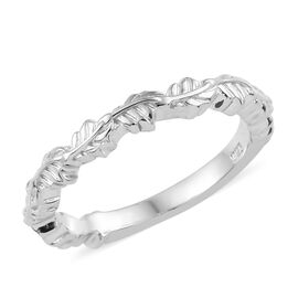 Platinum Overlay Sterling Silver Leaf Band Ring