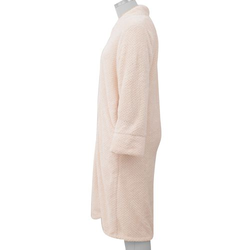 Microfibre Soft Jacquard Flannel Gown with Pocket and Zip-Front (Size 60x116 Cm) - Off-White