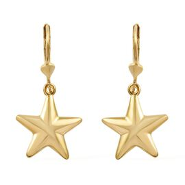 14K Gold Overlay Sterling Silver Lever Back Star Earrings