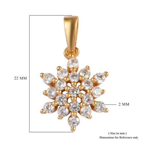 Natural Cambodian Zircon (Rnd) Snowflake Pendant in 14K Gold Overlay Sterling Silver 1.00 Ct.