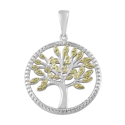 Green Diamond Tree of Life Pendant in Platinum Plated Sterling Silver