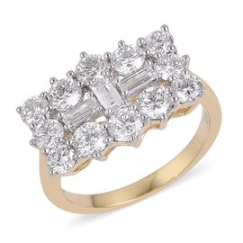 ILIANA 18K Yellow Gold IGI Certified Diamond (Bgt) (SI/G-H) Boat Cluster Ring 2.000 Ct.