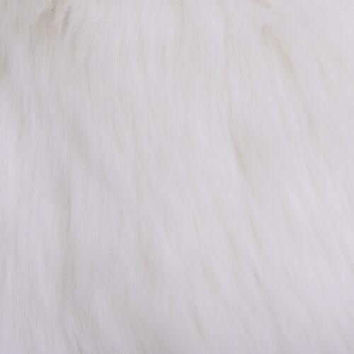 2 Piece Set - Faux Fur Small Carpet (100x60cm) with Cushion (45x45cm-1Pcs) - Ivory