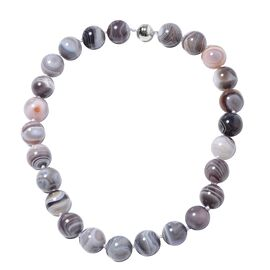 1031 Ct AAA Botswana Agate Beaded Necklace in Rhodium Plated Silver 20 Inch
