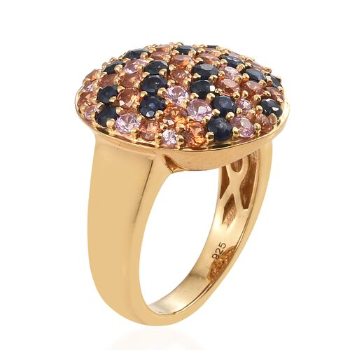 3.25 Ct Rainbow Sapphire Cluster Ring in Gold Plated Silver 6.73 grams