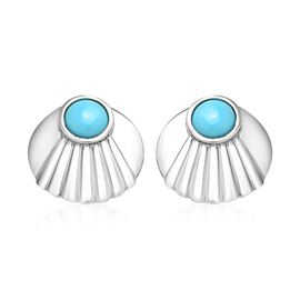 SLEEPING BEAUTY TURQUOISE (1.33 Ct) Platinum Overlay Sterling Silver Earring  2.000  Ct.