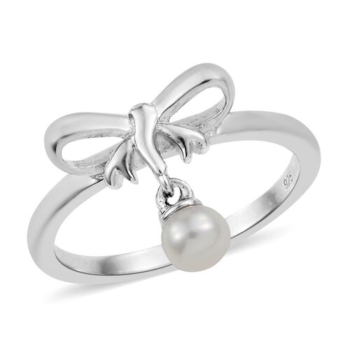 Fresh Water Pearl (Rnd) Bow Knot Ring in Platinum Overlay Sterling Silver.