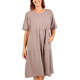 Nova of London Tiered Oversized Smock Midi Dress in Mocha (Size up to 20)