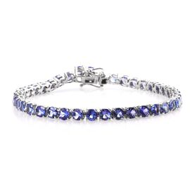 Tanzanite (Rnd) Tennis Bracelet (Size 7) in Platinum Overlay Sterling Silver 11.00 Ct, Silver wt 8.2