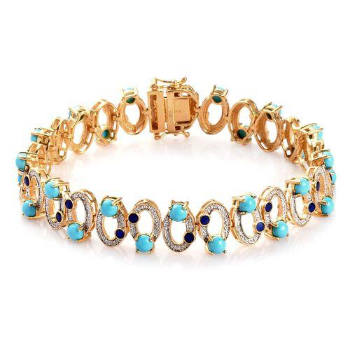 AA Arizona Sleeping Beauty Turquoise Enamelled Infinity Bracelet (Size 8) in 14K Gold Overlay Sterli