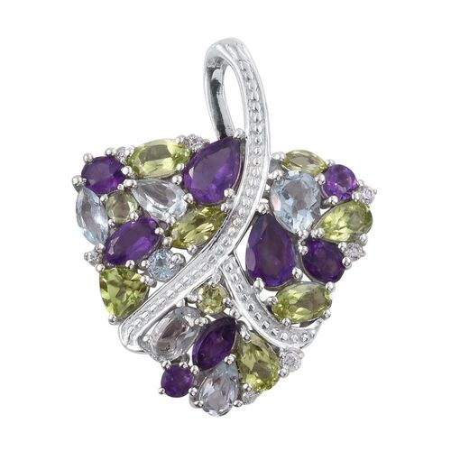 GP Amethyst (Pear), Sky Blue Topaz, Hebei Peridot and Multi GemStone Pendant in Platinum Overlay Sterling Silver 4.500 Ct.