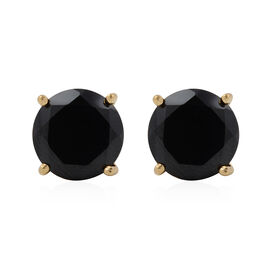 9 Carat Natural Boi Ploi Black Spinel Solitaire Stud Earrings with Push Back in Gold Plated Silver