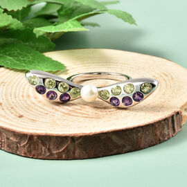 LucyQ Dragonfly Collection - Freshwater White Pearl, Hebei Peridot and Amethyst Ring in Rhodium Overlay Sterling Silver