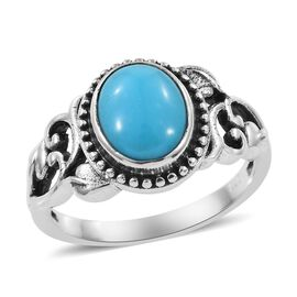 Artisan Crafted Arizona Sleeping Beauty Turquoise (Ovl) Ring in  Sterling Silver 2.08 Ct.