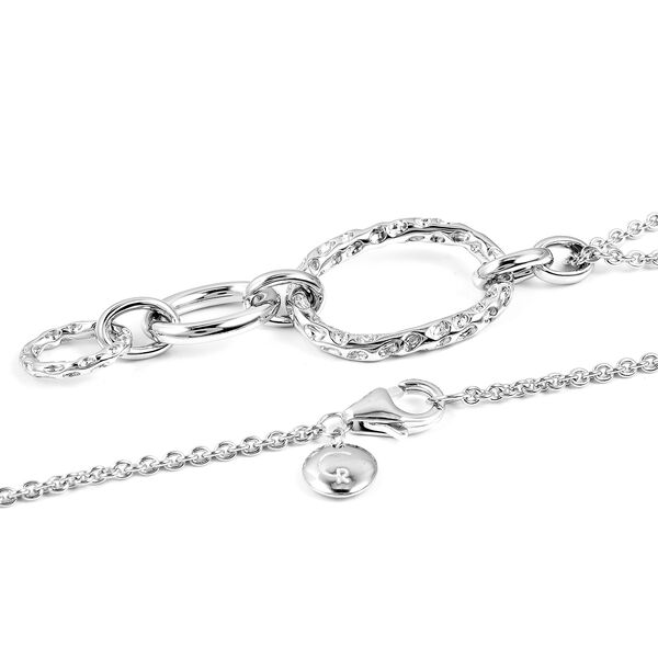 RACHEL GALLEY Allegro Link Rhodium Overlay Sterling Silver Pendant With Chain (Size 30) Silver wt 12.47 Gms.