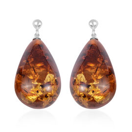 Baltic Amber Earrings (with Push Back) in Sterling Silver