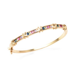 Simulated Rainbow Sapphire Bangle (Size 7) in Yellow 1Gold Tone