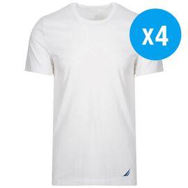 Pack of 4 Nautica Mens 100% Cotton Crew-Neck White T-Shirt