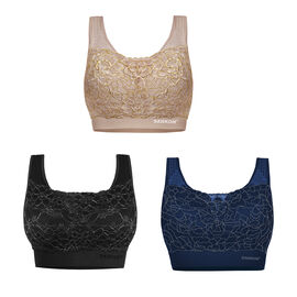 OTO - 3 Piece Set - SANKOM SWITZERLAND Patent Classic with Lace Bra Including Black/Silver, Navy/Silver & Beige/Gold