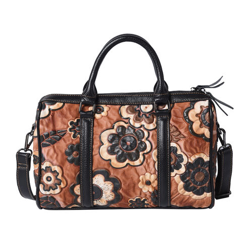 100% Genuine Leather Embossed Floral Pattern Satchel Bag (Size 31x9x21cm) - Brown and Black