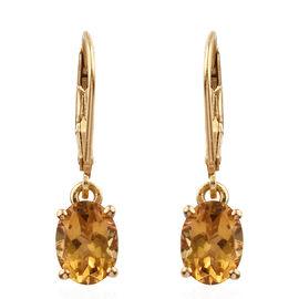 Heliodor (Ovl) Leverback Earrings in Yellow Gold Vermeil Sterling Silver 2.000 Ct.