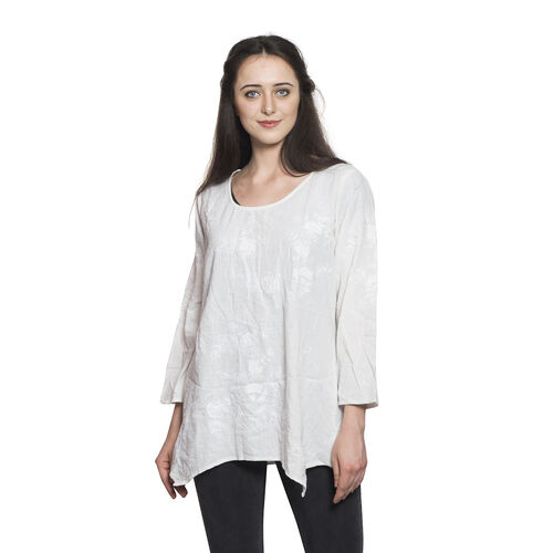 New For Season - 100% Cotton Leaves and Floral Embroidered White Colour Apparel (Free Size)