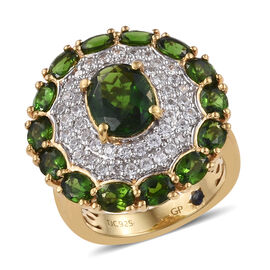 GP Russian Diopside (Ovl),Natural White Cambodian Zircon and Kanchanaburi Blue Sapphire Ring in 14K Gold Overlay Sterling Silver 5.500 Ct, Silver wt 6.70 Gms.