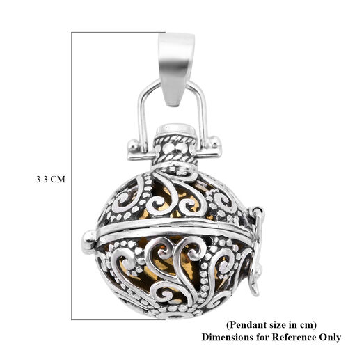 Royal Bali Collection - Russian Diopside Harmony Ball Pendant in Yellow Gold Overlay Sterling Silver, Silver wt. 9.70 Gms