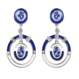 Tanzanite and Natural Cambodian Zircon Enamelled Earrings (with Push Back) in Platinum Overlay Sterl