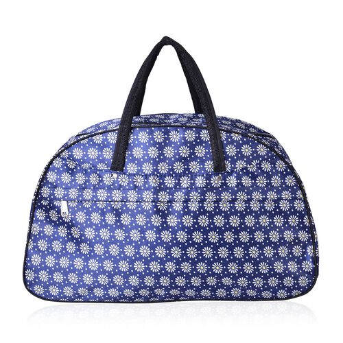 Blue, White and Yellow Colour Floral Pattern Tote Bag with Adjustable Shoulder Strap (Size 50X31X17 Cm)