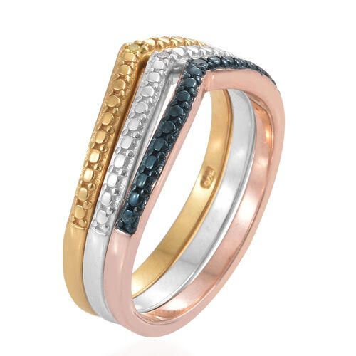 Diamond (Rnd), Yellow Diamond and Blue Diamond Wish Bone Ring in Blue, Platinum, 14K Gold and Rose Gold Overlay Sterling Silver, Silver wt 6.36 Gms.