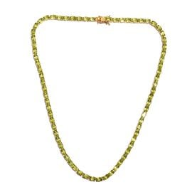 Hebei Peridot (Ovl) Necklace (Size 18) in 14K Gold Overlay Sterling Silver 35.50 Ct, Silver wt 20.70