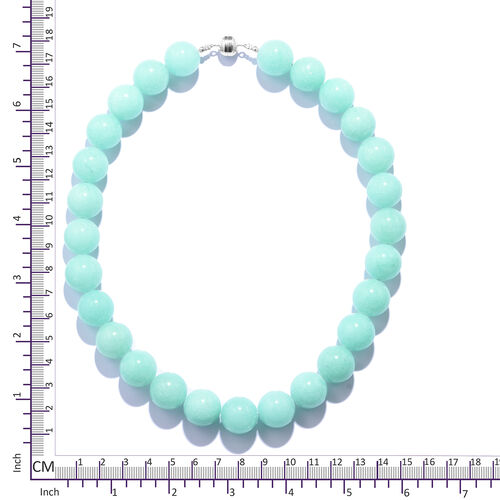 Extremely Rare Size Amazonite Colour Quartz (Rnd 16.50 MM) Necklace (Size 18) in Rhodium Overlay Sterling Silver with Magnetic Lock 765.000 Ct