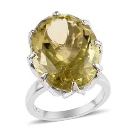 15 Ct Natural Ouro Verde Quartz Solitaire Ring in Platinum Plated Silver 5.20 Grams