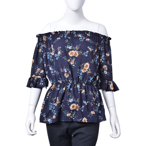 Summer Collection - Limited Available - Navy and Multi Colour Floral Pattern Peplum Top (Medium-Larg