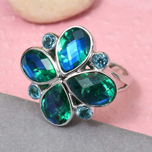 Sajen Silver - Peacock Quartz and Celestial Blue Doublet Quartz Ring in Sterling Silver 5.91 Ct.