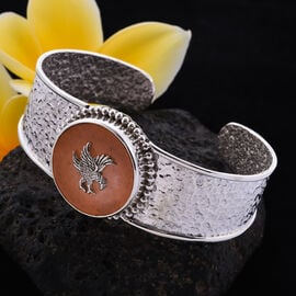Royal Bali Collection - Orange Jade Garuda Cuff Bangle (Size 7.5) in Sterling Silver 6.00 Ct, silver wt. 25.00 Gms