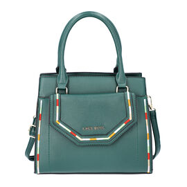 LOCK SOUL Dark Green Multiple Pocket Handbag with Zipper Closure and Detachable Shoulder Strap (Size