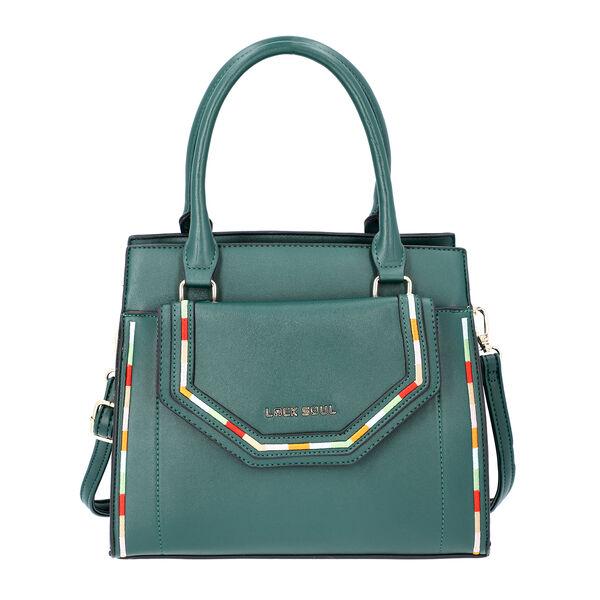 LOCK SOUL Dark Green Multiple Pocket Handbag with Zipper Closure and Detachable Shoulder Strap (Size