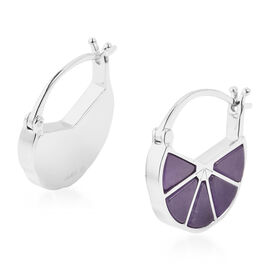 Isabella Liu Dance of Ginkgo - Purple Jade Hoop Earrings (with Clasp) in Rhodium Overlay Sterling Si
