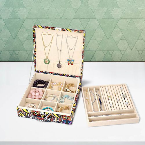 Two-Tier Multi Colour Geometric Pattern Jewellery Box with Anti-Tarnish Lining
