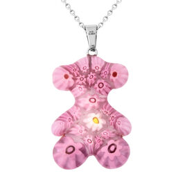 Pink Murano Style Glass Pendant with Chain (Size 24) in Stainless Steel