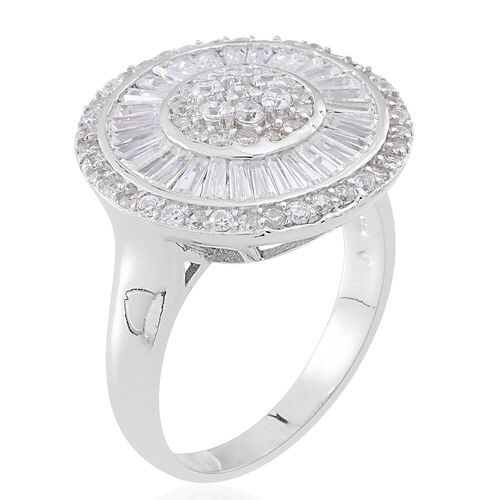 ELANZA Simulated Diamond (Rnd) Ring in Rhodium Plated Sterling Silver, Silver wt 7.00 Gms.