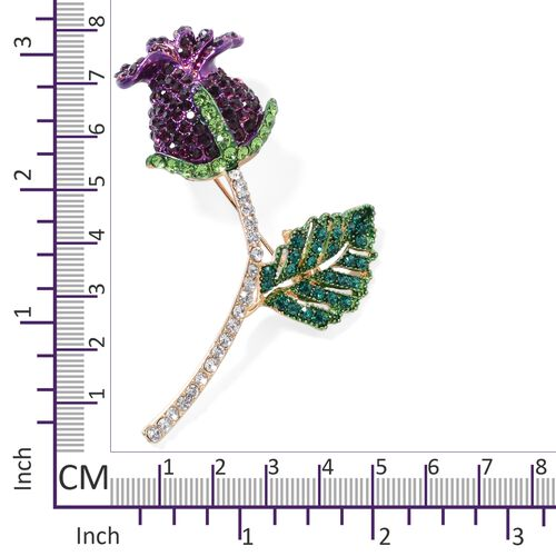 Amethyst Colour and Multi Colour Austrian Crystal (Rnd) Rose Bud Brooch in Yellow Gold Plated